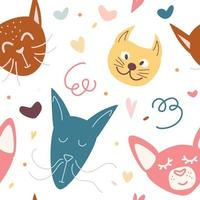 Seamless childish pattern with cute hand drawn face cats. Creative kids hand drawn texture for fabric, wrapping, textile, wallpaper, apparel. vector
