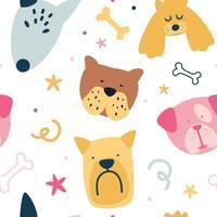 Childish seamless pattern with cute creative dogs. Texture in scandinavian style. Animal seamless cartoon illustration. vector