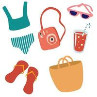 Set of beach accessories. Summer items, flip-flops, sunglasses, swimsuit, cocktail, camera, beach bag. vector