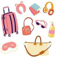 Travel preparation set. Luggage and necessary supplies for trip and traveling. Travel elements for women. vector