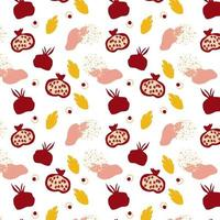 Pattern with pomegranates. Decorative modern aesthetic pattern. Ripe pomegranate and leaves on white background. vector