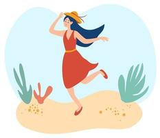 Happy young woman walking on the beach. Lady in a summer dress holds her hat. Happy smiling woman goes at outdoor on summer sunny weather. vector