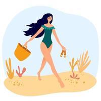 linda chica en traje de baño camina por la playa con una bolsa y chanclas. mujeres relajantes en el lugar de veraneo. vector