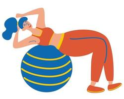 Young woman doing training ball exercises. Swiss ball. Healthy Lifestyle. Fitness Girl. vector