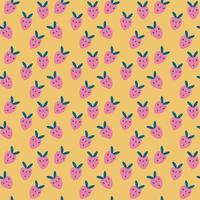 Seamless pattern with cartoon pink strawberries. Yellow background, ripe strawberries. vector