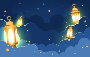 Midnight Eid Lantern Background vector