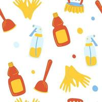 Cleaning service seamless pattern. Funny cartoon pattern of cleaning tools. Eco friendly household cleaning supplies. Products for house washing. vector