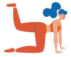 la mujer hace gimnasia, entrena, sacude los músculos de las piernas. chica que hace ejercicios para las nalgas y las caderas. vector