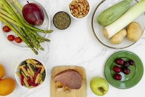 Whole foods diet food composition background photo