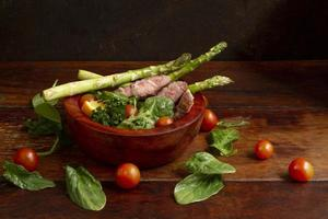 Meat and vegetables bowl photo