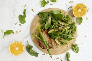 Meat and vegetables diet food composition background photo