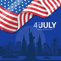 America Landmark with Flag vector