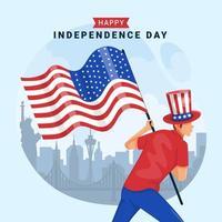 hombre con bandera celebra el día de la independencia vector