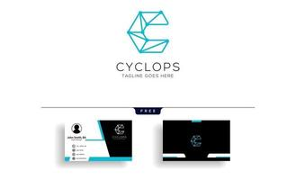 letter C geometric logo template vector illustration with free business card design vector