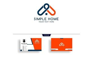 real estate home logo template with business card design  vector