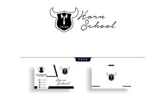Horn education learning logo template vector illustration with business card template vector