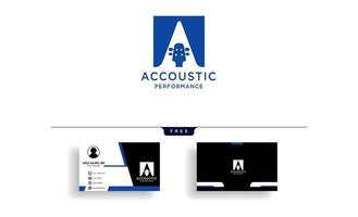 guitar acoustic home learning logo template vector illustration with business card template vector
