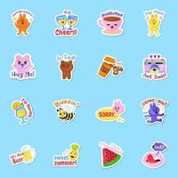 Cute Sticker Style vector