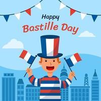 Boy Celebrating Bastille Day vector