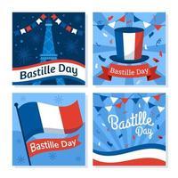 Set of Bastille Day Greeting Cards vector