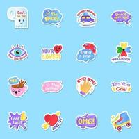 Stickers with Texts in Editable vector