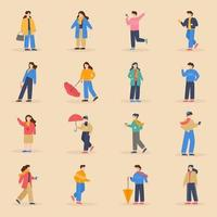 Pack of Winter Characters vector