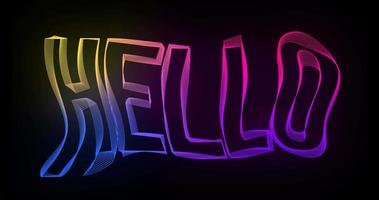 Hallo kreative Typografie-Textanimation mit gewellten Farblinien video