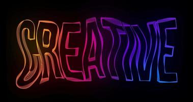 Creative Typography Text Animation with wavy color lines video
