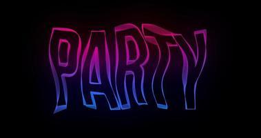 Animación de texto de tipografía creativa de fiesta con líneas de color onduladas video