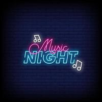 Music Night Neon Signs Style Text Vector