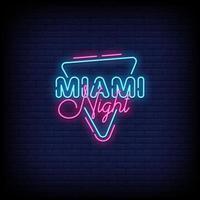 vector de texto de estilo de letreros de neón de la noche de miami