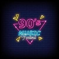 90s Music Festival Neon Signs Style Text Vector