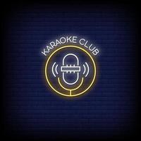 Karaoke Club Neon Signs Style Text Vector