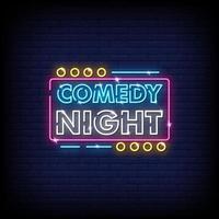vector de texto de estilo de letreros de neón de noche de comedia