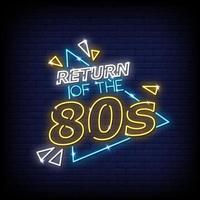 Return Of the 80s Neon Signs Style Text Vector