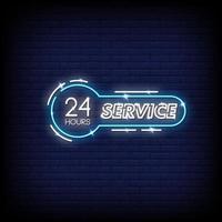 Servicio 24 horas letreros de neón estilo vector de texto