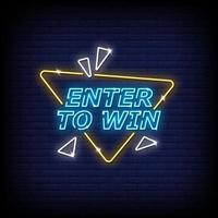 Enter To Win Neon Signs Style Text Vector
