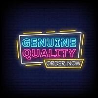 Genuine Quality Neon Signs Style Text Vector