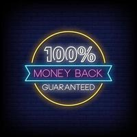 Money Back Guaranted Neon Signs Style Text Vector