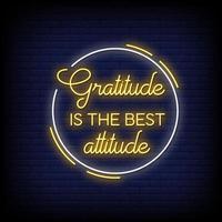la gratitud es la actitud de los letreros de neón estilo vector de texto