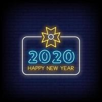 feliz año nuevo 2020 letreros de neón estilo vector de texto