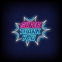 Super Thank You Neon Signs Style Text Vector