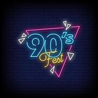90s Festival Neon Signs Style Text Vector