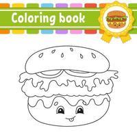 Coloring book for kids - hamburger vector