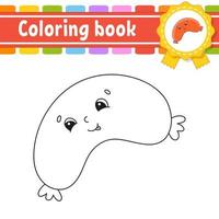 Coloring book for kids - sausage vector