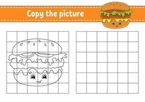 Copy the picture Coloring book pages for kids - hamburger vector