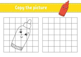 Copy the picture Coloring book pages for kids - ketchup vector