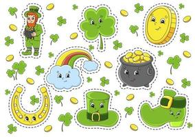 Set of stickers with cute cartoon characters St Patricks Day vector