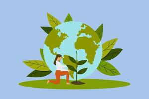Earth day save planet flat illustration vector