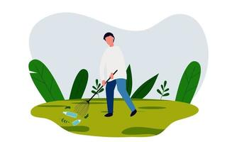 Save earth illustration with clean up trash vector